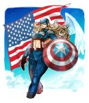 1girl absurdres american_flag artist_name blonde_hair blue_eyes boots captain_america clouds commentary_request curly_hair female fingerless_gloves genderswap gloves helmet highres long_hair marvel mask midriff navel okada_(hoooojicha) rule_63 shield sky solo star steve_rogers superhero suspenders toned wings