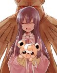 1girl blush carrying closed_eyes commentary_request crossover fang houraisan_kaguya long_hair long_sleeves open_mouth parent_and_child pokemon red_eyes six_(fnrptal1010) smile teddiursa touhou ursaring