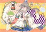 1girl asa_no_ha_(pattern) blue_skirt checkered cowboy_shot expressionless grey_hair hat hat_ribbon highres japanese_clothes letterboxed long_sleeves mononobe_no_futo pom_pom_(clothes) ponytail postage_stamp ribbon ribbon-trimmed_sleeves ribbon_trim seastar shippou_(pattern) short_hair skirt solo tate_eboshi touhou white_clothes wide_sleeves yagasuri yellow_background