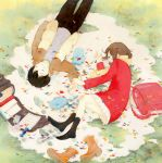 1boy 1girl arm_at_side backpack backpack_removed bag bangs black_hair black_legwear black_pants blush boku_dake_ga_inai_machi boots boots_removed brown_boots brown_hair candy child closed_eyes closed_mouth coat confetti footprints fringe fujinuma_satoru fur_boots fur_trim grass hinazuki_kayo holding_hands inoue_haruka_(haruharu210) kneehighs lollipop long_sleeves lying miniskirt mittens no_shoes on_back on_ground on_side open_bag pants paper parted_lips pleated_skirt profile randoseru red_coat scarf short_hair skirt string traditional_media upside-down watercolor_(medium) white_skirt winter_clothes yellow_scarf