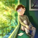1boy artist_name bangs bowl_cut buttons cable closed_mouth collared_shirt digital_media_player dress_shirt earphones earphones envelope frame frown glass green_shoes hand_on_own_knee holding indoors leaning_to_the_side long_sleeves looking_away looking_to_the_side male_focus matsuno_choromatsu osomatsu-san painting_(object) pants plaid plaid_shirt reflection shadow shirt shoes sitting solo takosu-chan tears tree twitter_username white_pants window