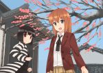 2girls akatsuki_miho akemiho_tabi_nikki black_hair brown_eyes brown_hair flower fukube_tamaki kouno_hikaru multiple_girls plum_blossoms red_eyes short_hair