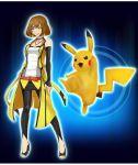 1girl alyssa_(pokemon) full_body official_art pikachu pokemon pokemon_(creature) pokken_tournament