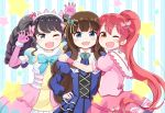 3girls :d ;d bangs black_hair blue_eyes bow brown_eyes brown_hair check_(check_book) claw_pose cross-laced_clothes dress elbow_gloves fang fangs fur_trim garuru_(pripara) gloves hair_bow hair_ornament hairband hand_on_hip headphones hug juliet_sleeves kurosu_aroma long_hair long_sleeves multiple_girls one_eye_closed open_mouth pink_gloves pink_hair pripara puffy_short_sleeves puffy_sleeves shiratama_mikan short_sleeves sidelocks smile star striped twintails vertical-striped_background vertical_stripes