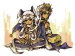 1boy 1girl ankh armlet bandages blue_eyes bodypaint bridal_gauntlets cape dark_skin earrings egyptian facial_mark fur_trim green_eyes headdress indian_style jewelry long_hair looking_at_viewer open_mouth puzzle_&_dragons ra_(p&d) shiroma_(mamiko) sitting sopdet_(p&d) star white_hair