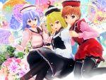 3d 3girls flower hat highres kurogoma_(meganegurasan) mikumikudance multiple_girls touhou