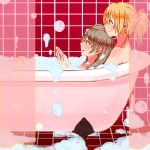 2girls ayase_eli bath bathing bathtub blonde_hair bubble bubble_bath curtains grey_hair hands_together love_live!_school_idol_project minami_kotori multiple_girls nude ponytail shared_bathing shin9tani sitting sitting_on_person tile_floor tile_wall tiles yuri
