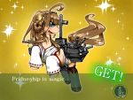 1girl blue_eyes blush cosplay double_bun engrish error foog hakama horse japanese_clothes kantai_collection kongou_(kantai_collection) kongou_(kantai_collection)_(cosplay) long_hair military military_uniform my_little_pony parody pony ranguage uniform