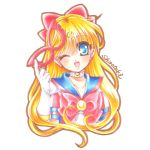 1girl aino_minako bishoujo_senshi_sailor_moon blonde_hair blue_eyes bow brooch choker crescent earrings facial_mark forehead_mark gloves hair_bow jewelry long_hair looking_at_viewer lowres magical_girl mask mask_removed one_eye_closed red_bow sailor_collar sailor_v shirataki_kaiseki signature smile solo upper_body white_background white_gloves