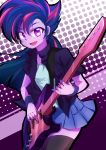 1girl bangs caibao collarbone cowboy_shot guitar instrument looking_at_viewer multicolored_hair my_little_pony my_little_pony_equestria_girls my_little_pony_friendship_is_magic open_mouth personification polka_dot polka_dot_background purple_skin skirt smile solo spiky_hair thigh-highs twilight_sparkle violet_eyes