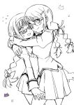 2girls :3 akemi_homura bespectacled blush cat flying_sweatdrops glasses hug looking_at_viewer mahou_shoujo_madoka_magica multiple_girls paw_print school_uniform silverxp skirt smile tomoe_mami