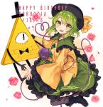 1girl bill_cipher blush boots bow bowtie crossover dated eyeball flower full_body gradient gradient_background gravity_falls green_eyes green_hair happy_birthday hat hat_ribbon heart heart_of_string highres komeiji_koishi long_sleeves looking_at_another looking_at_viewer nekoremon one-eyed open_mouth petals purple_legwear ribbon shirt short_hair skirt smile string third_eye top_hat touhou triangle wide_sleeves