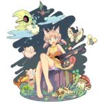 1girl altaria amoonguss animal_ears barefoot blue_eyes bonsly butterfree clefairy coin crobat gastly gloom grass guitar hoppip icywood instrument jewelry jigglypuff jumpluff lunatone meowth necklace oddish outdoors personification pokemon pokemon_(creature) sitting slakoth solo tree_stump whismur yawning