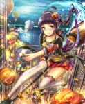1girl black_hair broom broom_riding candy floating glasses halloween highres hot_air_balloon hourainingyou long_hair original pumpkin red_eyes solo twintails