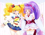 2girls :d anmitsu_komachi asahina_mirai blonde_hair blue_skirt bow cosplay cowboy_shot cure_fortune cure_fortune_(cosplay) cure_honey cure_honey_(cosplay) cure_magical cure_miracle detached_sleeves earrings hair_bow hands_together happinesscharge_precure! heart heart_earrings highres izayoi_liko jewelry kagami_chihiro long_hair looking_at_viewer magical_girl mahou_girls_precure! multiple_girls one_eye_closed open_mouth pink_bow pink_eyes ponytail popcorn_cheer precure purple_hair red_bow skirt smile standing thigh-highs twintails violet_eyes white_legwear white_skirt wrist_cuffs