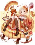 1girl banana_slice blonde_hair bowl brown_eyes cherry food food_as_clothes food_themed_clothes fork fruit givuchoko hair_ornament highres juliet_sleeves licking long_sleeves looking_at_viewer maple_syrup original pancake personification puffy_sleeves shirt short_hair sitting skirt smile solo whipped_cream whisk