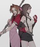 2girls absurdres aerith_gainsborough back-to-back black_hair black_skirt brown_hair clenched_hands crop_top cropped_jacket dress elbow_gloves final_fantasy final_fantasy_vii fingerless_gloves gloves highres jacket materia midriff multiple_girls oimkimn pink_dress red_jacket simple_background skirt staff suspenders tank_top tifa_lockhart
