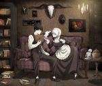 1boy 1girl animal_skull apron arisawa_kuro belt black_hair black_shoes blue_eyes book book_stack bookshelf breasts candle candlelight commentary cookie_jar couch cow_skull cup framed_image grey_eyes highres indoors maid maid_apron maid_headdress on_couch open_book original painting_(object) pale_skin red_eyes saucer shoes short_hair sitting skull steam table teacup teapot vest white_hair white_legwear wooden_floor