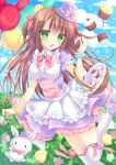 1girl :3 apron balloon basket bird blush bow bowtie breasts brown_hair buttons chestnut_mouth chick clouds cloudy_sky cupcake dress easter_egg flower food food_on_face frilled_dress frills green_eyes hair_between_eyes hair_bow hair_ornament hairclip hat hat_bow heart highres holding holding_food kohinata_hoshimi long_hair mini_hat mini_top_hat open_mouth original rabbit shoes short_sleeves sky sparkle standing_on_one_leg thigh-highs top_hat underbust wrist_cuffs