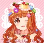 1girl :3 :p bare_shoulders blue21 blush brown_eyes brown_hair candy cookie flower food food_as_clothes food_themed_clothes fruit hair_flower hair_ornament icing idolmaster idolmaster_cinderella_girls jewelry long_hair looking_at_viewer macaron moroboshi_kirari necklace one_eye_closed pudding smile solo star_hair_ornament strawberry tongue tongue_out
