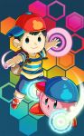 1boy baseball_cap black_hair blue_eyes child crossover esper hat hexagon highres kirby kirby:_planet_robobot kirby_(series) looking_at_viewer mother_(game) mother_2 ness smile solid_oval_eyes super_smash_bros. trait_connection