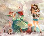 1girl arm_up artist_name baseball_cap blue_eyes brown_hair denim denim_shorts emolga full_body hat joltik lilligant long_hair looking_at_viewer minccino one_eye_closed poke_ball pokemon pokemon_(creature) pokemon_(game) ponytail rain reshiram serperior shirt shorts sleeveless solosis stunfisk touko_(pokemon) tympole ume_ren vest victini wet wrist_cuffs