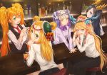 5girls alternate_costume arm_support bar bar_stool bartender belt black_hair blonde_hair blue_eyes blush bottle bow bowtie braid circlet coaster cup double_bun dragon_girl dragon_horns drinking_glass drinking_straw earrings green_eyes hair_between_eyes hair_ornament hair_rings hairclip haku_(p&d) head_fins headdress horns ice ice_cube jewelry karin_(p&d) leilan_(p&d) long_hair looking_at_viewer looking_back meimei_(p&d) multicolored_hair multiple_girls necktie open_mouth orange_hair plate purple_hair puzzle_&_dragons reflection sakuya_(p&d) smile stool turtle_shell twintails very_long_hair white_hair wine_bottle yellow_eyes yuzutosen