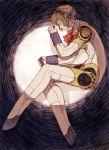 1girl aegis aegis_(persona) android blonde_hair headphones maekakekamen persona persona_3 robot_joints solo