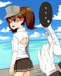 ... 1girl admiral_(kantai_collection) brown_eyes brown_hair empty_eyes gloves kantai_collection long_hair open-chest_sweater ryuujou_(kantai_collection) shaded_face skirt solo_focus spoken_ellipsis subaru_(797529) sweat sweater turtleneck twintails visor_cap you're_doing_it_wrong