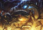 battle blood blood_from_mouth blue_eyes blue_fire claws digimon dinorexmon dinosaur fire fire_breathing forest glowing glowing_eyes highres kazkazkaz lightning monster nature no_humans rain red_eyes spikes spinomon spinosaurus teeth tyrannosaurus_rex