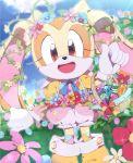 1girl basket cream_the_rabbit dutch_angle easter easter_egg flower gloves highres rabbit smile solo sonic_the_hedgehog tomynokke