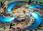 afterburner blew_andwhite dust_cloud emblem gamera gamera_(series) girls_und_panzer jagdpanzer_38(t) kaijuu military military_vehicle monster motion_blur motion_lines no_humans spinning tank turtle vehicle