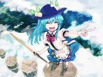 1girl above_clouds blue_hair closed_eyes floating_rock food from_above fruit hat hinanawi_tenshi long_hair open_mouth peach puffy_short_sleeves puffy_sleeves shirt short_sleeves skirt smile solo subachi sword_of_hisou touhou v very_long_hair