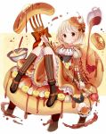 1girl banana_slice blonde_hair bowl brown_eyes cherry commentary_request food food_as_clothes food_themed_clothes fork fruit givuchoko hair_ornament highres juliet_sleeves licking long_sleeves looking_at_viewer maple_syrup mixing_bowl original pancake personification puffy_sleeves revision shirt short_hair sitting skirt smile solo whipped_cream whisk