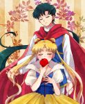 1boy 1girl apple bishoujo_senshi_sailor_moon black_hair closed_eyes cosplay covered_mouth dress food fruit gown hair_grab highres inuko_(pixiv6096383) long_hair low_ponytail ponytail puffy_short_sleeves puffy_sleeves seiya_kou short_sleeves snow_white snow_white_(cosplay) snow_white_and_the_seven_dwarfs striped striped_background tsukino_usagi twintails vertical-striped_background vertical_stripes very_long_hair yellow_background