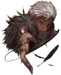1boy 1girl absurdres boots brown_eyes brown_hair choker covered_mouth dark_skin feathers food_fighter_441 full_body gloves highres jacket jewelry krizalid military military_uniform short_hair snk the_king_of_fighters uniform whip whip_(kof) white_hair