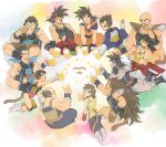 alcohol armband armor ayo_(isy8800) bald bardock beer beer_mug black_eyes black_hair boots broly brown_hair clenched_hand closed_eyes dated dougi dragon_ball dragon_ball_z eating facial_hair food food_in_mouth gine gloves head_rest indian_style jewelry knee_pads kneeling leotard long_hair looking_back lying meat monkey_tail mouth_hold muscle mustache nappa neck_ring on_stomach open_mouth panbukin_(dragon_ball) raditz scar_on_cheek seripa short_hair sitting smile son_gokuu spiky_hair toast_(gesture) toma_(dragon_ball) toteppo tullece vegeta very_long_hair white_boots white_gloves widow's_peak wrist_cuffs wristband