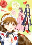 adachi_masahiro brown_eyes brown_hair highres kamakura_shiho long_hair maid ponytail taneshima_popura working!! working!!_(web_manga)