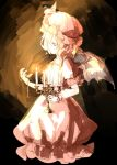 1girl bow candelabra candle candlelight chain dark demon_wings dress hat hat_bow highres indoors kagari6496 looking_at_watch mob_cap pink_dress pocket_watch remilia_scarlet short_hair sketch solo touhou watch wings wristband