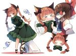 >_< 2girls afterimage anger_vein angry animal_ears arms_behind_back bangs black_bow black_shoes blunt_bangs blush bow braid breasts brown_hair cat_ears cat_tail closed_eyes clothes_grab cravat directional_arrow extra_ears eyebrows eyebrows_visible_through_hair frilled_skirt frills ghost green_skirt hair_bow hakurei_reimu half_updo heart juliet_sleeves kaenbyou_rin leaning_forward leg_ribbon long_hair long_sleeves looking_at_viewer multiple_girls multiple_views nekomata own_hands_together peeking piyokichi profile puffy_sleeves red_bow red_eyes red_ribbon redhead ribbon ribbon-trimmed_sleeves ribbon_trim shaded_face shoes sketch skirt standing tail touhou waving_arms white_background