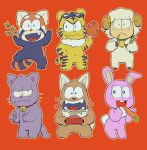 :< :3 :d animalization bamboo bell bell_collar bowl carrot cat closed_mouth collar dog dog_food fang fish food food_in_mouth grass hand_on_hip highres holding holding_food hono1212 jingle_bell male_focus matsuno_choromatsu matsuno_ichimatsu matsuno_juushimatsu matsuno_karamatsu matsuno_osomatsu matsuno_todomatsu meat navel no_humans open_mouth osomatsu-kun osomatsu-san pet_bowl rabbit red_background red_panda sheep simple_background smile spiked_collar spikes standing standing_on_one_leg sunglasses sunglasses_on_head tiger wavy_mouth