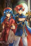 1boy 1girl armor arms_behind_back black_legwear blue_eyes blue_hair cape capelet dress fire_emblem fire_emblem:_fuuin_no_tsurugi gloves hat headband indoors jewelry lilina long_hair nemupon_(goodlucky) pantyhose redhead roy_(fire_emblem) skirt smile sword weapon