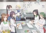 6+girls amagi_(kantai_collection) anti_(untea9) apron black_hair brown_eyes brown_hair carrot closed_mouth commentary_request crossed_arms cutting_board daikon grey_hair hair_between_eyes hair_ornament hair_ribbon hair_scrunchie hairclip hakama_skirt hamakaze_(kantai_collection) high_ponytail highres indoors isokaze_(kantai_collection) japanese_clothes kantai_collection kappougi katsuragi_(kantai_collection) kitchen kitchen_knife knife long_hair long_sleeves looking_at_another mole mole_under_eye multiple_girls open_mouth ponytail purple_hair red_skirt ribbon scrunchie shikigami short_hair short_sleeves skirt smile sweat taigei_(kantai_collection) translation_request twintails vegetable white_ribbon you're_doing_it_wrong zuikaku_(kantai_collection)