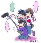 3boys beanie blank_speech_bubble boom_microphone bowl_cut brothers brown_hair fan harisen hat headphones heart heart_in_mouth hiropon_(hiropon0206) male_focus matsuno_choromatsu matsuno_ichimatsu matsuno_todomatsu multiple_boys osomatsu-kun osomatsu-san pants pants_rolled_up siblings simple_background speech_bubble squatting sunglasses sunglasses_on_head twitter_username white_background