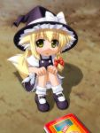 animal_ears bad_id blonde_hair bloomers book braid fox_ears fox_tail hat kemonomimi_mode kirisame_marisa mary_janes shoes short_hair solo tail touhou umekichi witch_hat yellow_eyes young