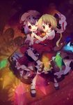 2girls ana_(rznuscrf) bat_wings blonde_hair bobby_socks carrying flandre_scarlet glowing hat hat_removed headwear_removed highres hug mary_janes multiple_girls open_mouth purple_hair red_eyes remilia_scarlet shoes siblings sisters smile socks touhou transparent wings wink