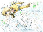 blonde_hair bride cute flower gloves gunslinger_girl mary_janes petals rico thigh-highs triela twintails wedding_dress