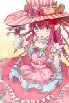 1girl 2016 bangs big_hat blue_eyes bow claws collar dated dress elbow_gloves fate/extra fate/extra_ccc fate/grand_order fate_(series) flower frilled_collar frilled_dress frills gloves gradient gradient_background hand_on_headwear hat hat_flower hat_ornament hinatsu lancer_(fate/extra_ccc) layered_dress lolita_fashion long_hair looking_at_viewer multicolored_dress nail_polish open_mouth pig pink_dress pink_hair pink_hat pink_nails pink_rose pointy_ears polka_dot polka_dot_dress ribbon rose sidelocks sleeveless sleeveless_dress smile solo squirrel striped striped_hat top_hat vertical_stripes wrist_cuffs yellow_background