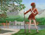 1girl adapted_uniform bayonet beret blurry brown_hair church depth_of_field facing_away fortress from_behind grass gun hand_on_hip hat high_heels highres kageng looking_away military military_uniform mountain musket original outdoors path pose red_skirt reflection river road scenery short_hair skirt soldier solo town tree uniform water weapon