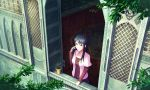 1girl absurdres black_eyes black_hair feel_(nasitaki) from_outside highres leaf long_hair looking_out_window looking_outside original plant potted_plant sapling scenery short_over_long_sleeves solo window